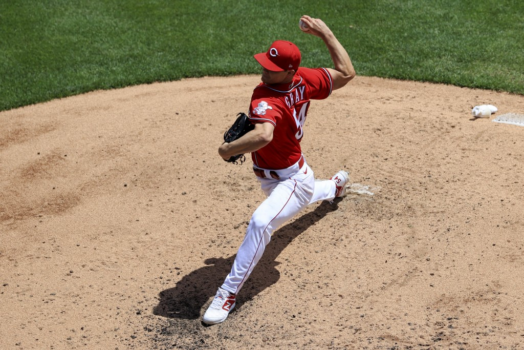 Cincinnati Reds' Sonny Gray throws during the fourth inning of a baseball game against the Chicago White Sox in Cincinnati, Wednesday, May 5, 2021. (A...
