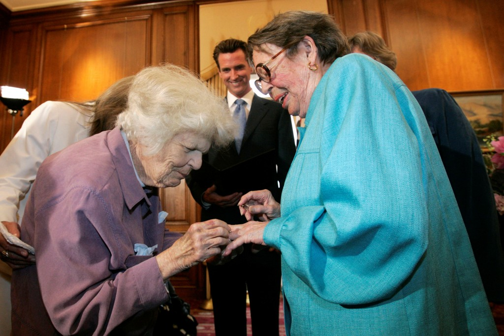 FILE - In this June 16, 2008, file photo, Del Martin, left, places a ring on her partner Phyllis Lyon, right, during their wedding ceremony officiated...