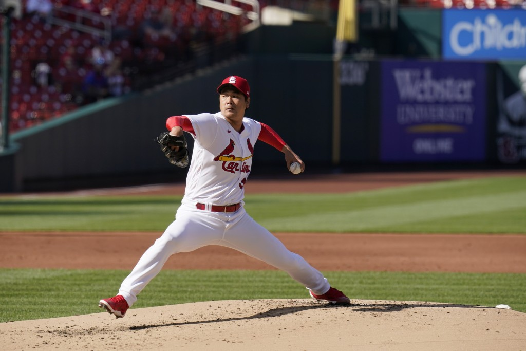St. Louis Cardinals starting pitcher Kwang Hyun Kim throws during the second inning in the first game of a baseball doubleheader against the New York ...