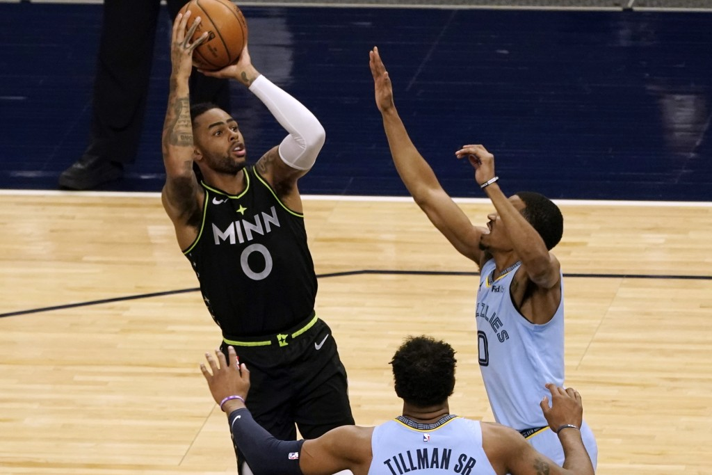 Minnesota Timberwolves' D'Angelo Russell (0) shoots as Memphis Grizzlies' De'Anthony Melton defends during the first half of an NBA basketball game We...