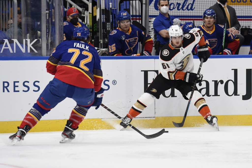 St. Louis Blues' Justin Faulk (72) defends against Anaheim Ducks' Troy Terry (61) during the first period of an NHL hockey game on Wednesday, May 5, 2...