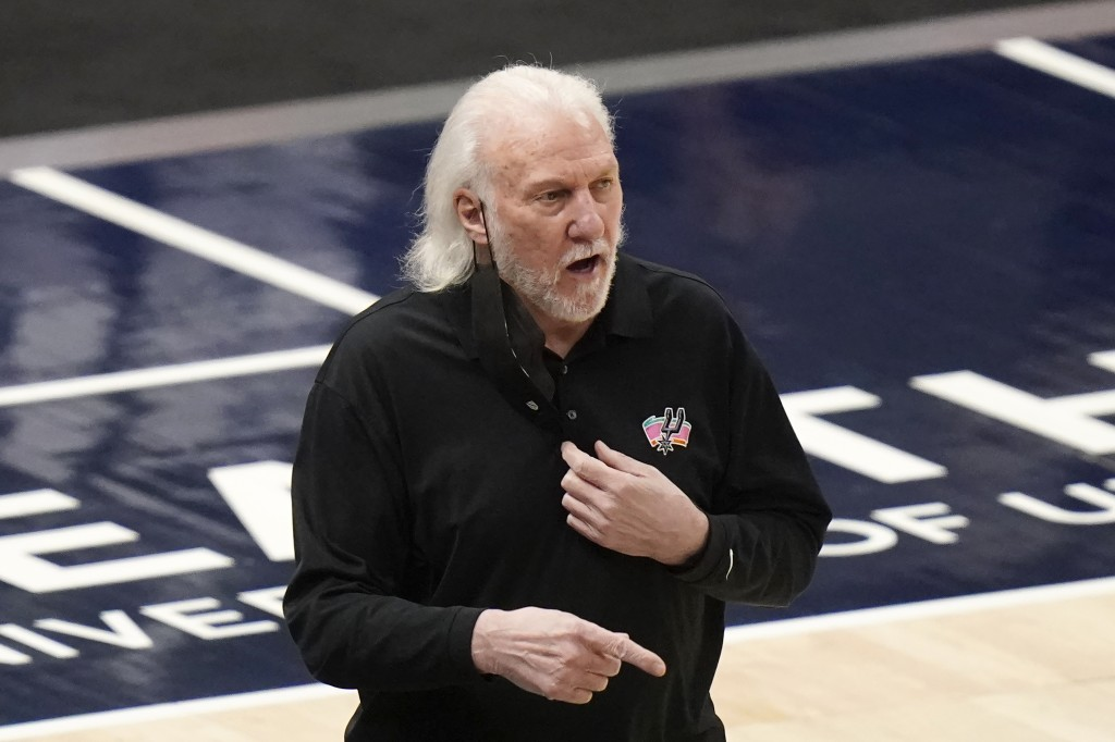 San Antonio Spurs coach Gregg Popovich watches during the first half of the team's NBA basketball game against the Utah Jazz on Wednesday, May 5, 2021...