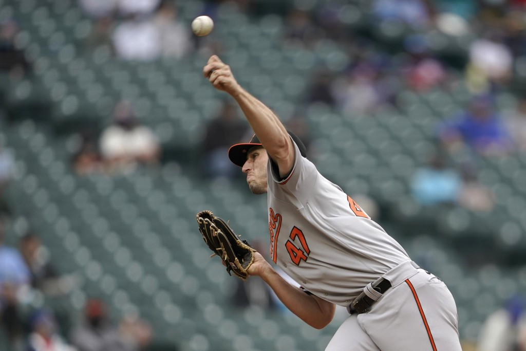 Baltimore Orioles starting pitcher John Means throws against the Seattle Mariners during the third inning of a baseball game, Wednesday, May 5, 2021, ...