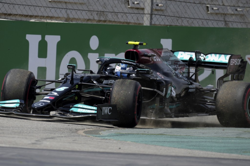 Mercedes driver Valtteri Bottas of Finland goes off the track during the first free practice for the Spanish Formula One Grand Prix at the Barcelona C...
