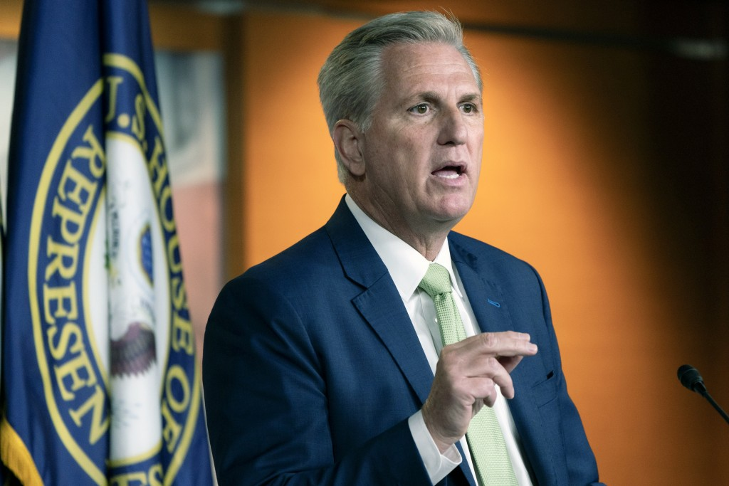 FILE - In this April 15, 2021, file photo, House Minority Leader Kevin McCarthy of Calif., speaks during a news conference on Capitol Hill in Washingt...