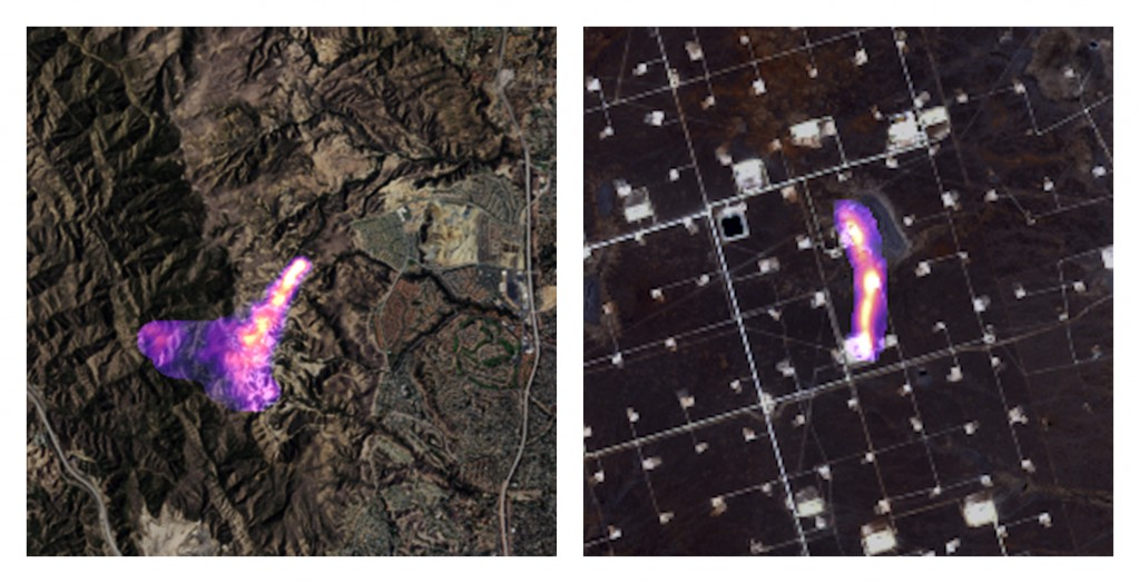 This combination of satellite images provided by the Kayrros data analytics company shows methane plumes, captured using specialized sensors overlaid ...