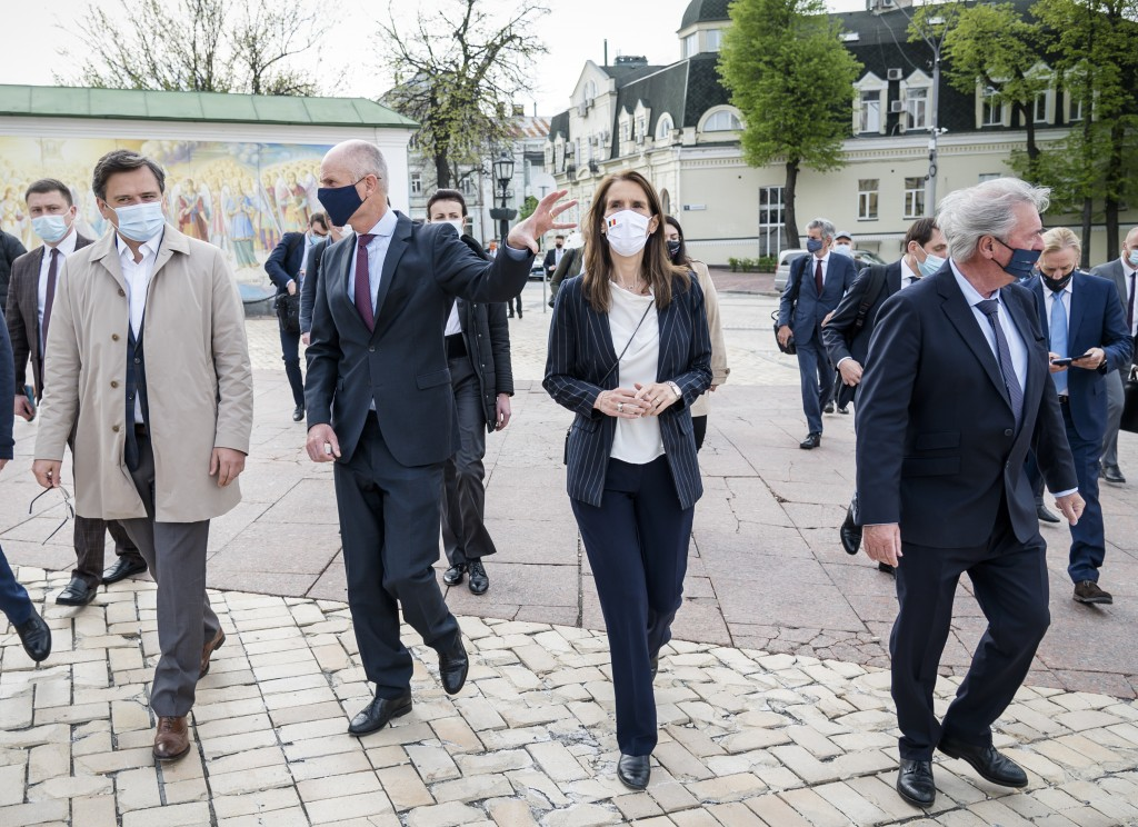 Left to right, Ukrainian Foreign Minister Dmytro Kuleba, Foreign Minister of Netherlands Stephanus Blok, Belgium's Foreign Minister Sophie Wilmes and ...