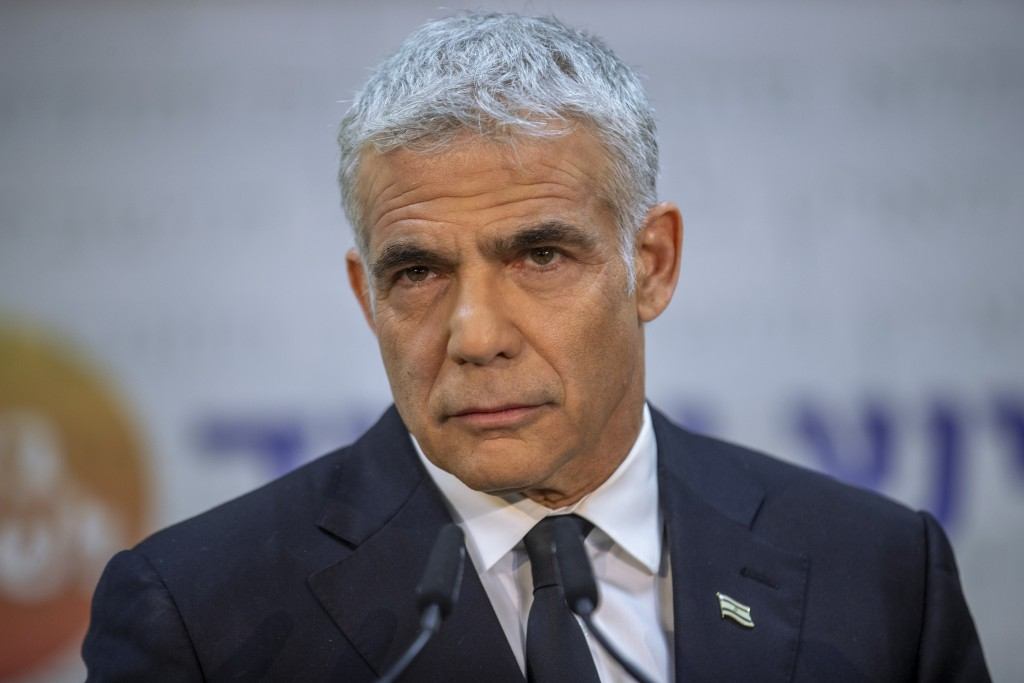 REPLACES COMMON GOOD INSTEAD OF COMMON GROUND -  Israeli opposition leader Yair Lapid, speaks during a news conference in Tel Aviv, Thursday, May. 6, ...