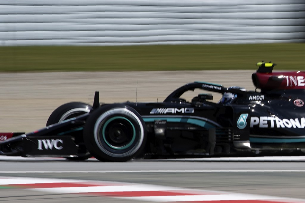 Mercedes driver Valtteri Bottas of Finland steers his car during the first free practice for the Spanish Formula One Grand Prix at the Barcelona Catal...