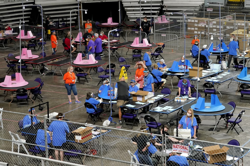Maricopa County ballots cast in the 2020 general election are examined and recounted by contractors working for Florida-based company, Cyber Ninjas, T...