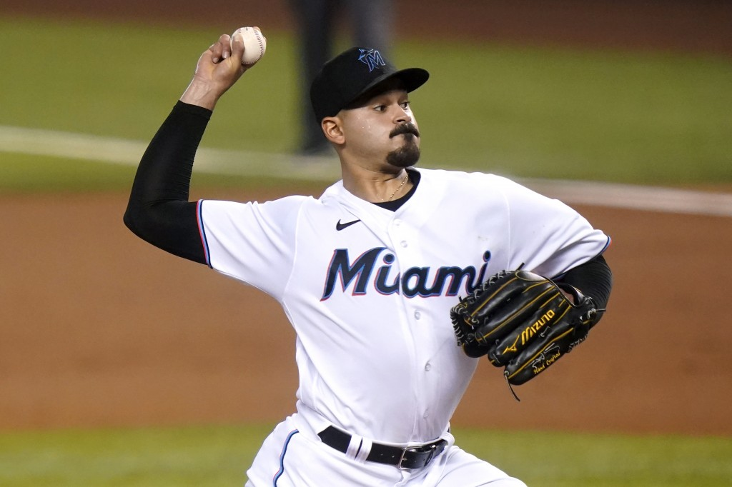 Miami Marlins starting pitcher Pablo Lopez throws during the first inning of a baseball game against the Arizona Diamondbacks, Thursday, May 6, 2021, ...