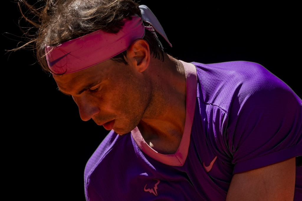 Spain's Rafael Nadal during a tennis match against Germany's Alexander Zverev at the Mutua Madrid Open tennis tournament in Madrid, Spain, Friday, May...