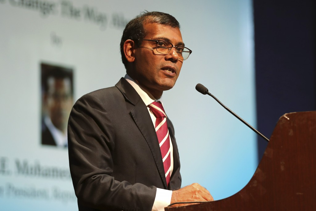 FILE - In this Feb. 14, 2019, file photo, former Maldives President Mohamed Nasheed delivers a lecture on climate change in New Delhi, India. Nasheed ...