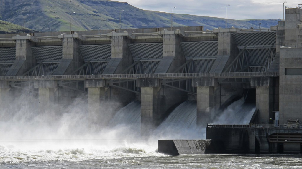 FILE - In this April 11, 2018, file photo, water moves through a spillway of the Lower Granite Dam on the Snake River near Almota, Wash. Some Republic...
