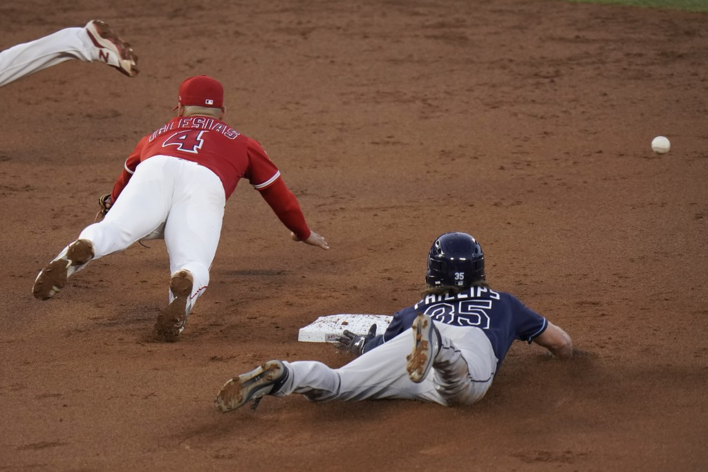 Tampa Bay Rays' Brett Phillips, right, steals second base as Los Angeles Angels' Jose Iglesias misses the throw during the third inning of a baseball ...