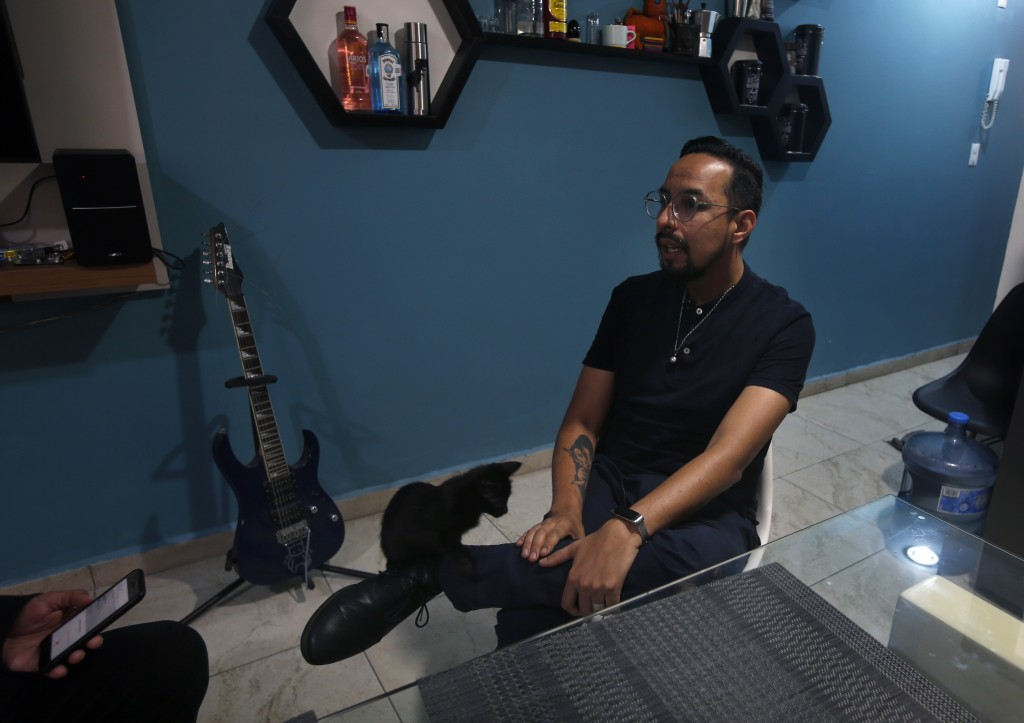Erik Bravo, 34, a survivor of Monday's subway collapse, speaks during an interview in Mexico City, Thursday, May 6, 2021. Three days after one of the ...