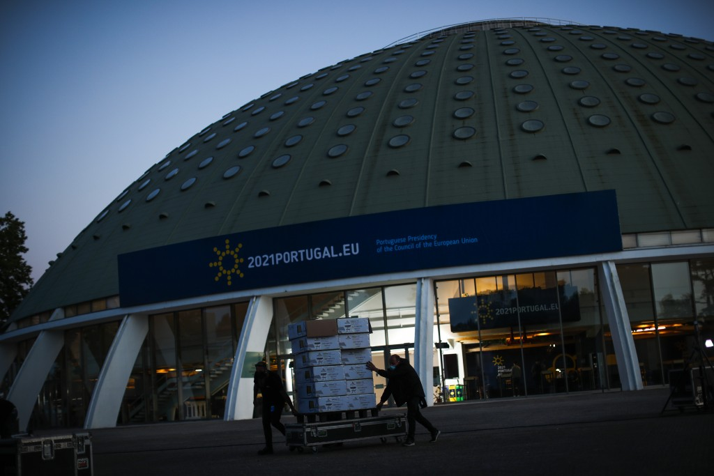 A view of the Crystal Palace on Thursday, May 6, 2021, which will be the venue of an upcoming EU summit in Porto, Portugal. European Union leaders are...