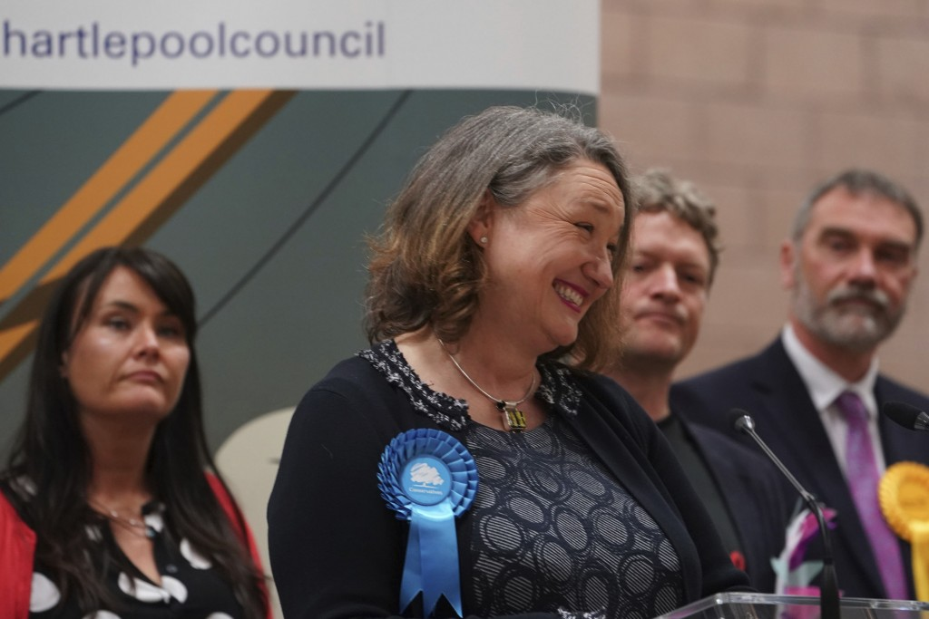 Conservative's Jill Mortimer gives speech after being declared winner in the Hartlepool parliamentary by-election at Mill House Leisure Centre in Hart...