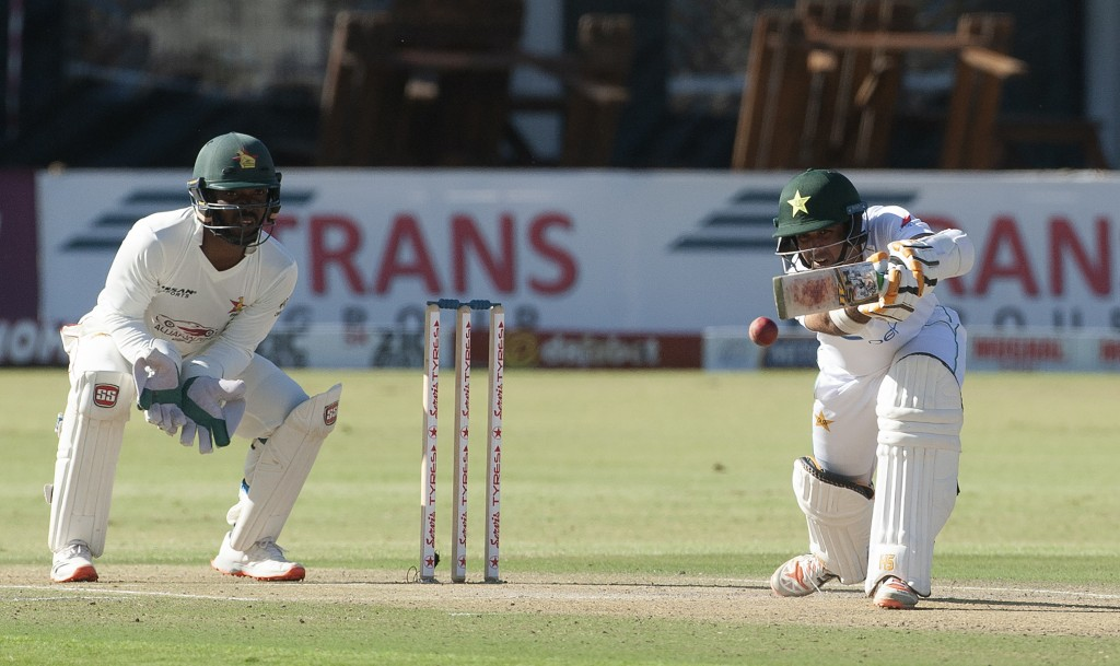 Pakistan batsman Azhar Ali plays a shot during the second test cricket match against Zimbabwe at Harare Sports Club, Friday, May 7, 2021.(AP Photo/Tsv...