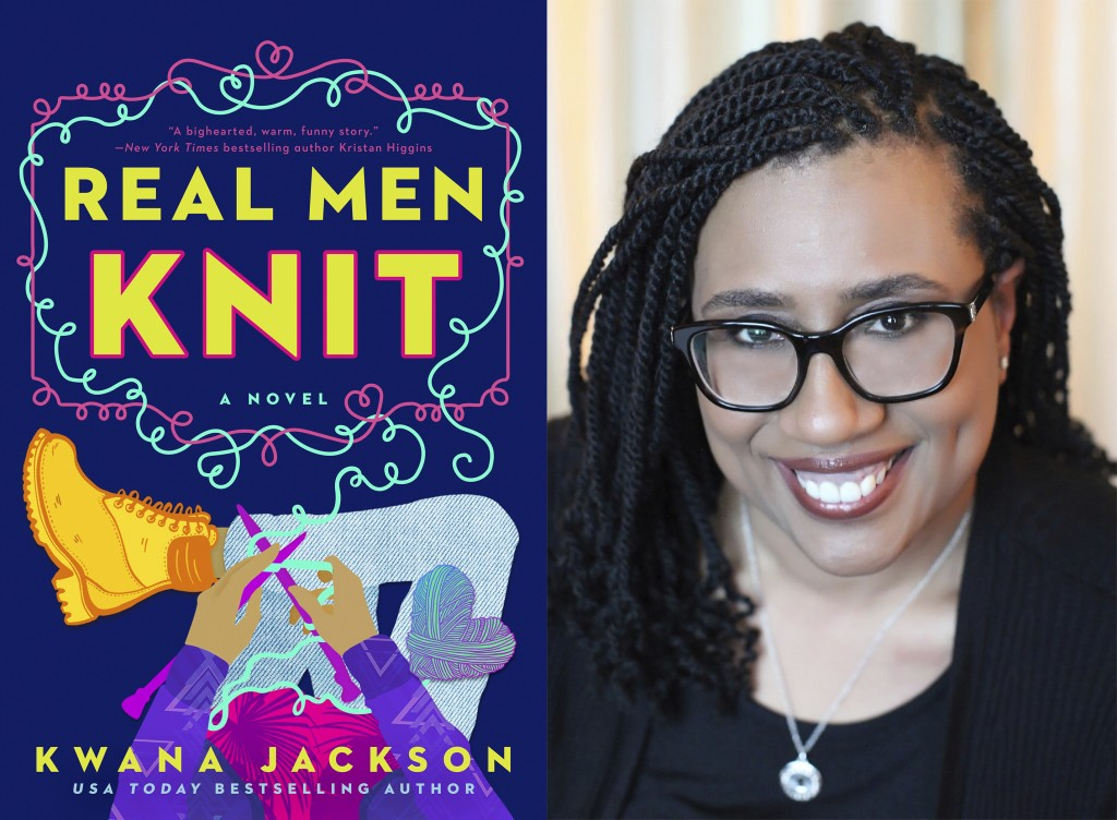 """This combination photo shows cover art for """"Real Men Knit,"""" left, and a portrait of author Kwana Jackson. Her 2020 novel about four brothers in New Yo..."""