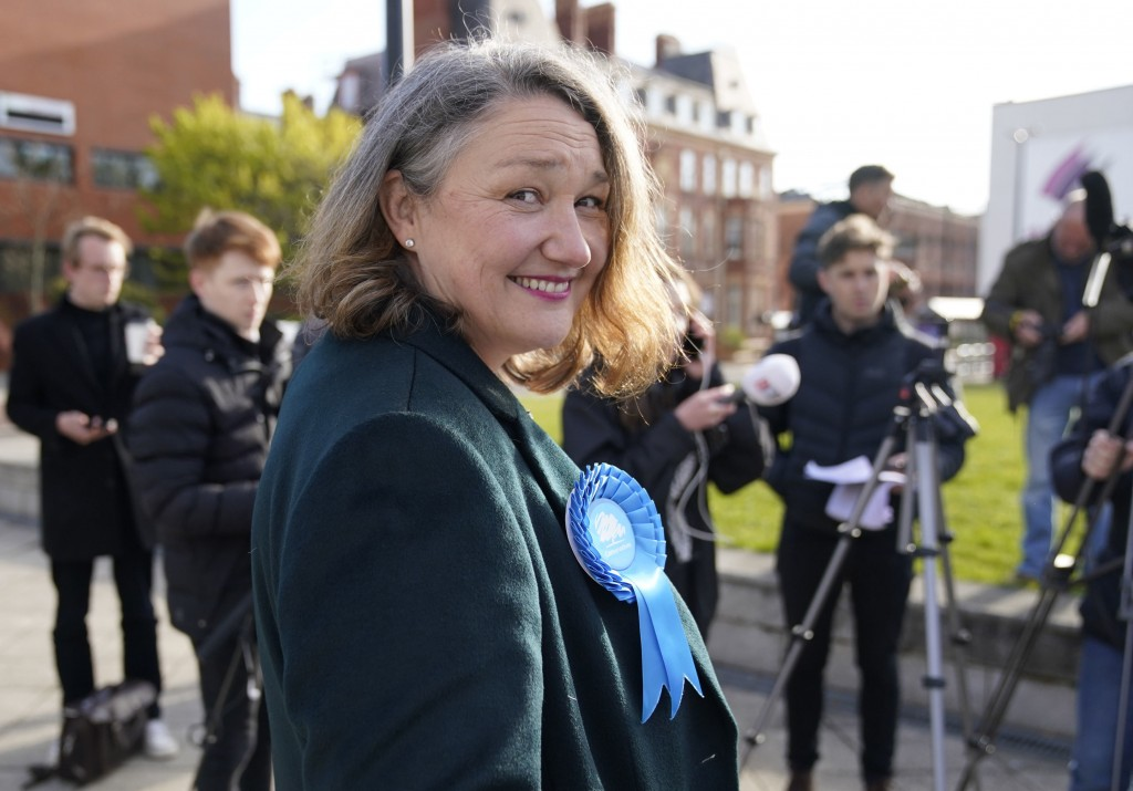 Newly elected Conservative lawmaker Jill Mortimer prepares to address the media in Hartlepool after being declared winner in the parliamentary electio...