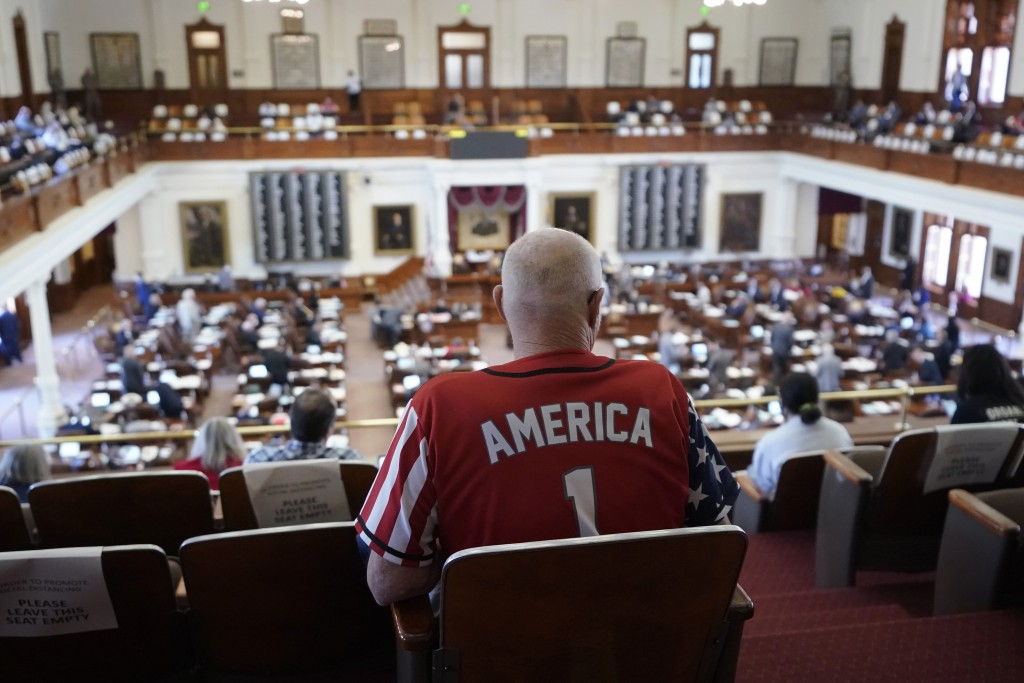 Gerald Welty sits the House Chamber at the Texas Capitol as he waits to hear debate on voter legislation in Austin, Texas, Thursday, May 6, 2021. (AP ...