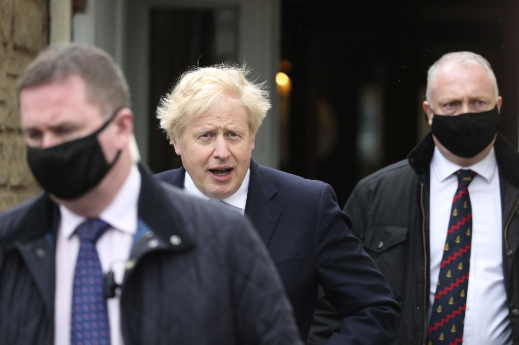 British Prime Minister Boris Johnson leaves after speaking to the media with Conservative Party candidate Jill Mortimer, who won the Hartlepool by-ele...