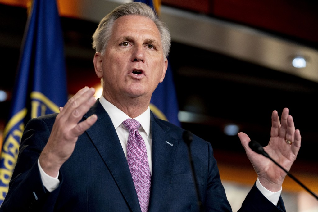 FILE - In this April 22, 2021, file photo, House Minority Leader Kevin McCarthy of Calif., speaks during his weekly press briefing on Capitol Hill in ...