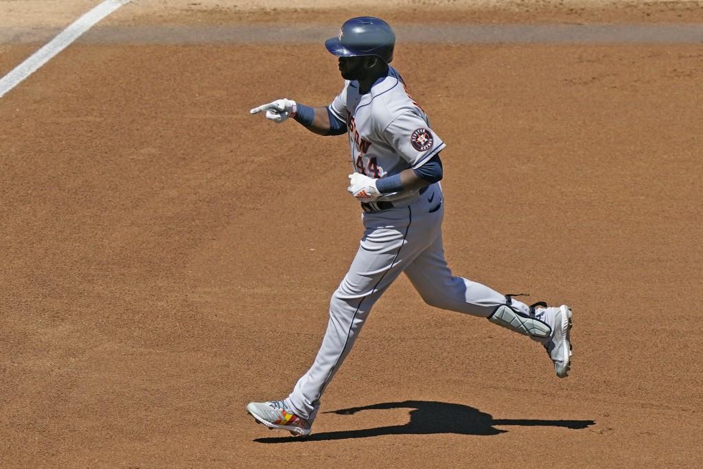 Houston Astros designated hitter Yordan Alvarez runs on a solo home run during the fourth inning of a baseball game against the New York Yankees, Thur...