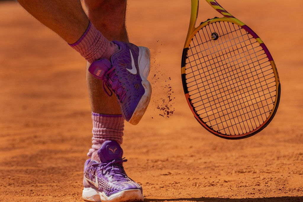 Spain's Rafael Nadal prepares to serve to Germany's Alexander Zverev during their match at the Mutua Madrid Open tennis tournament in Madrid, Spain, F...