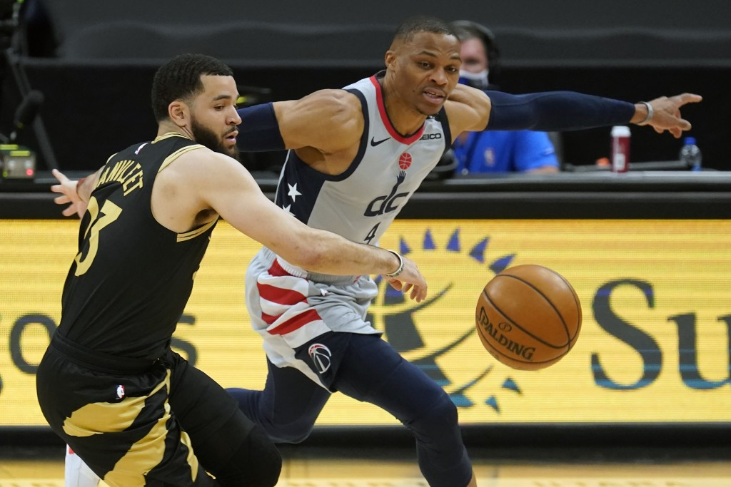 Washington Wizards guard Russell Westbrook (4) steals the ball from Toronto Raptors guard Fred VanVleet (23) during the first half of an NBA basketbal...