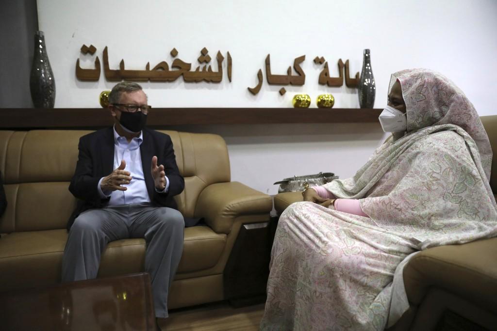 U.S. Special Envoy for the Horn of Africa Jeffrey Feltman, left, meets with Sudanese Foreign Minister Maryam al-Sadiq al-Mahdi in Khartoum, Sudan, Fri...