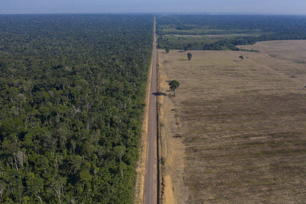 FILE - In this Nov. 25, 2019 file photo, highway BR-163 stretches between the Tapajos National Forest, left, and a soy field in Belterra, Para state, ...
