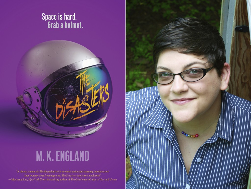 """This combination photo shows cover art for """"The Disasters,"""" left, and a portrait of author M.K. England, whose debut novel is in development for the C..."""