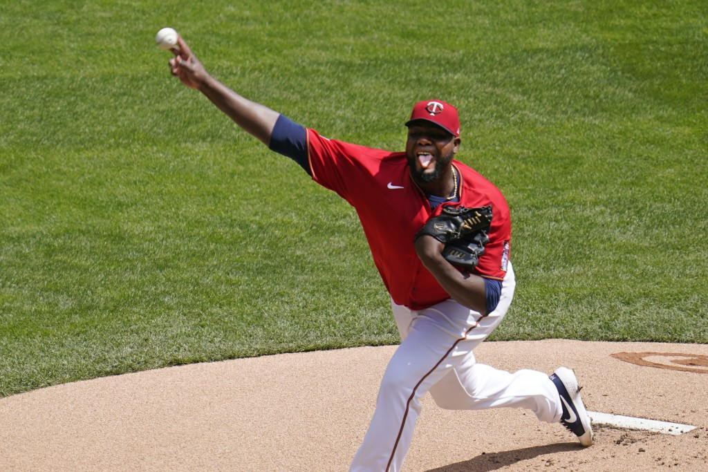 Minnesota Twins' pitcher Michael Pineda throws against the Texas Rangers in the first inning of a baseball game, Thursday, May 6, 2021, in Minneapolis...