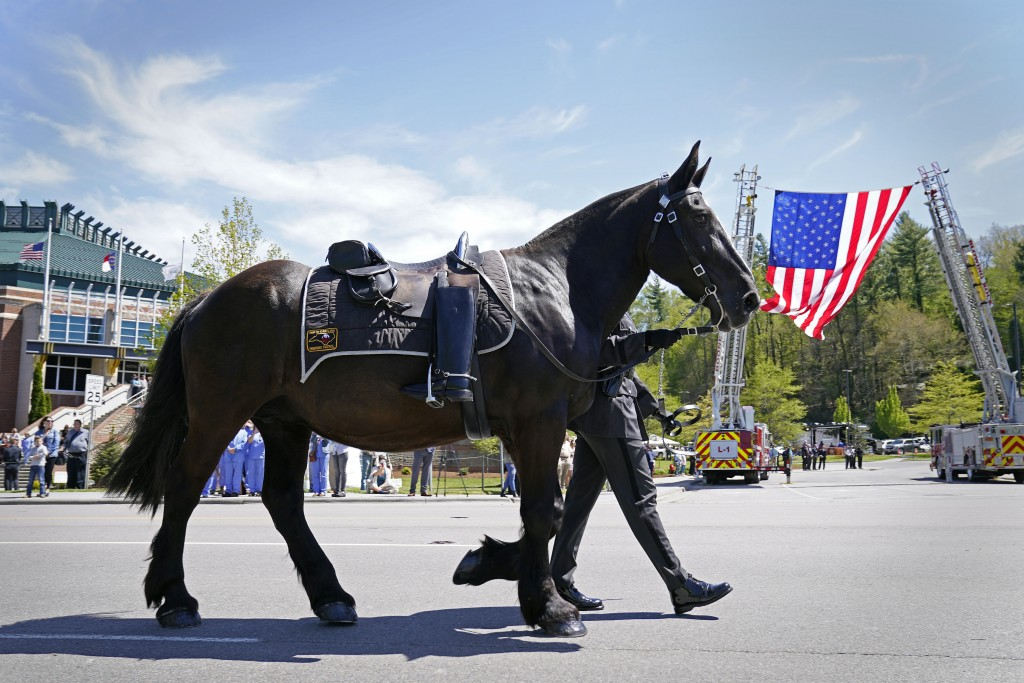 A riderless horse approaches the Holmes Convocational Center for the funeral services of Watauga County Sheriff's Deputies Sgt. Chris Ward and K-9 Dep...