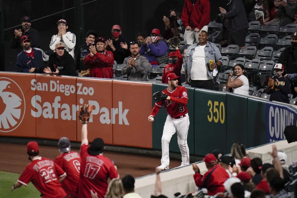Fans cheer after Los Angeles Angels' Taylor Ward caught a fly ball hit by Tampa Bay Rays' Yandy Diaz during the sixth inning of a baseball game Thursd...