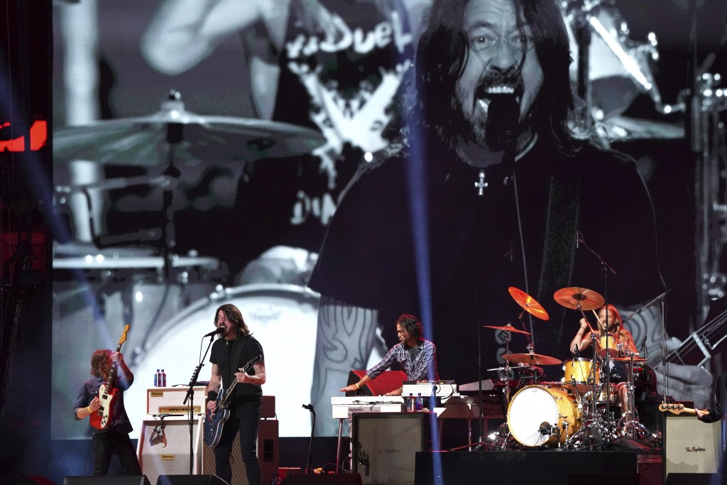 """The Foo Fighters perform at """"Vax Live: The Concert to Reunite the World"""" on Sunday, May 2, 2021, at SoFi Stadium in Inglewood, Calif. (Photo by Jordan..."""
