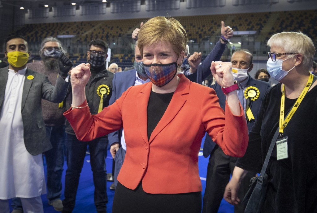 First Minister and SNP party leader Nicola Sturgeon celebrates after retaining her seat for Glasgow Southside at the count for the Scottish Parliament...