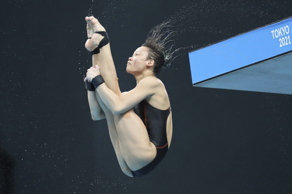 Pandelela Pamg, of Malaysia, performs a dive during the Women's 10m platform final at the FINA Diving World Cup in Tokyo, Wednesday, May 5, 2021. Pand...
