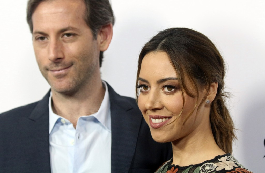 """FILE - In this Monday, June 19, 2017,, file photo, Aubrey Plaza, right, and Jeff Baena arrive at the premiere of """"The Little Hours"""" at the 2017 Los An..."""