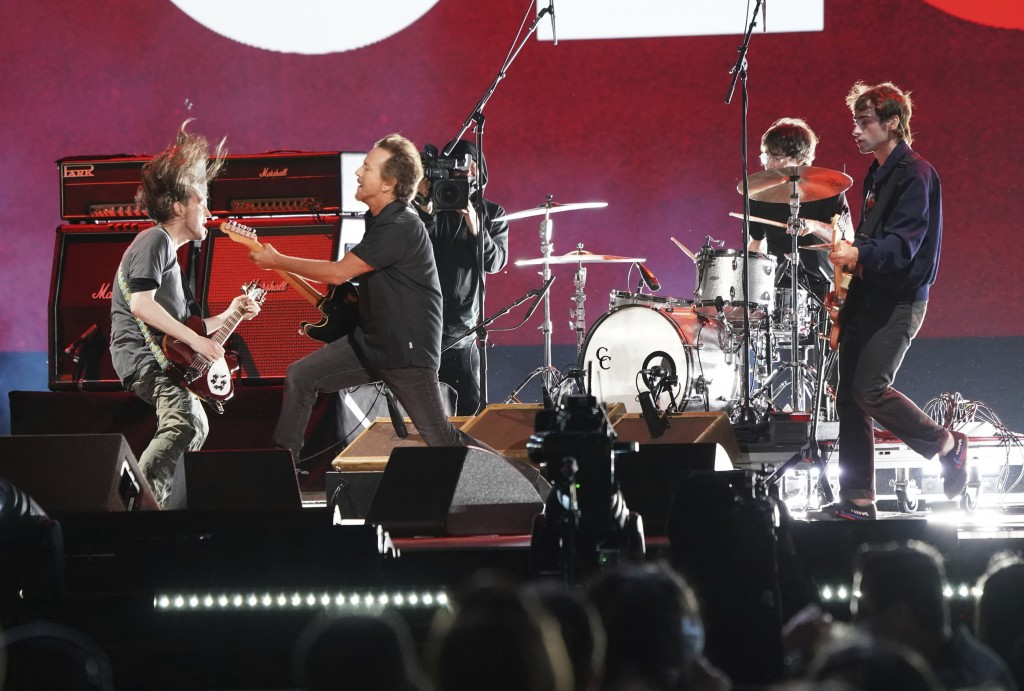 """Eddie Vedder performs at """"Vax Live: The Concert to Reunite the World"""" on Sunday, May 2, 2021, at SoFi Stadium in Inglewood, Calif. (Photo by Jordan St..."""