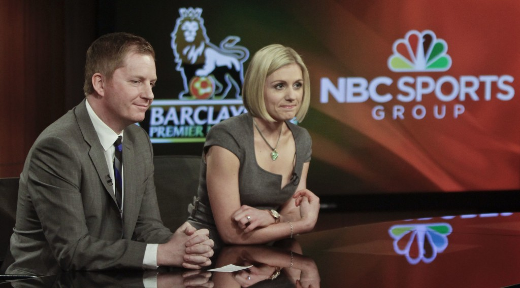 FILE - In this April 16, 2013, file photo, Arlo White, left, and Rebecca Lowe listen during a joint NBC and English Premier League (EPL) press confere...