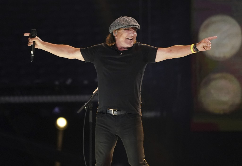 """Brian Johnson of AC/DC performs with the Foo Fighters at """"Vax Live: The Concert to Reunite the World"""" on Sunday, May 2, 2021, at SoFi Stadium in Ingle..."""