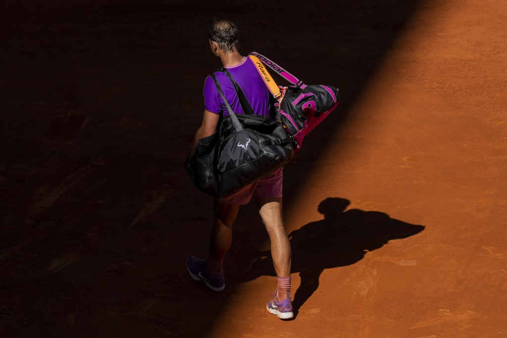 Spain's Rafael Nadal leaves the court after losing against Germany's Alexander Zverev at the Mutua Madrid Open tennis tournament in Madrid, Spain, Fri...