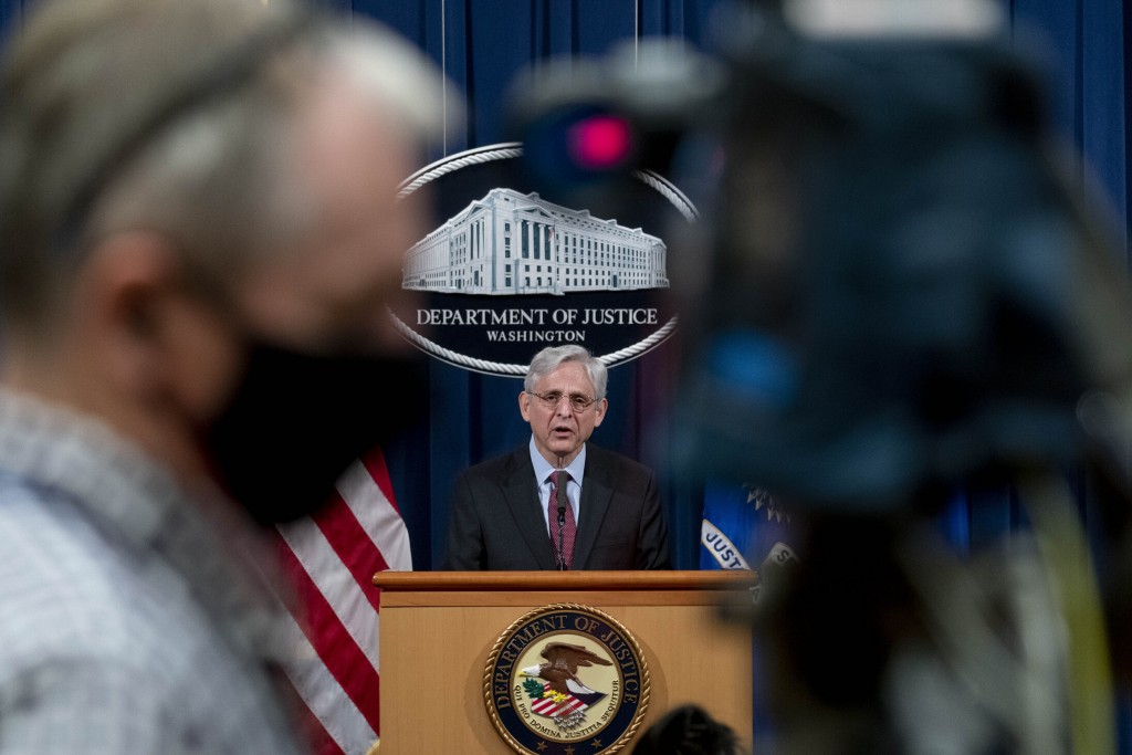FILE - In this April 21, 2021, file photo Attorney General Merrick Garland speaks about a jury's verdict in the case against former Minneapolis Police...