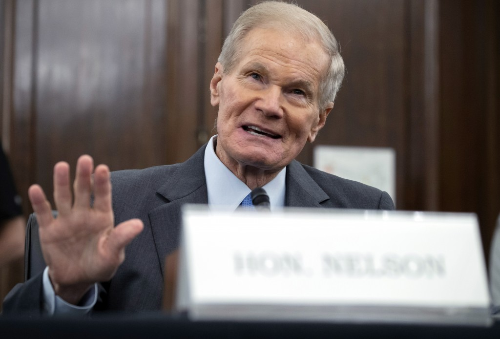 FILE - In this Wednesday, April 21, 2021 file photo, former U.S. Sen. Bill Nelson, nominee for administrator of NASA, speaks during a Senate Committee...