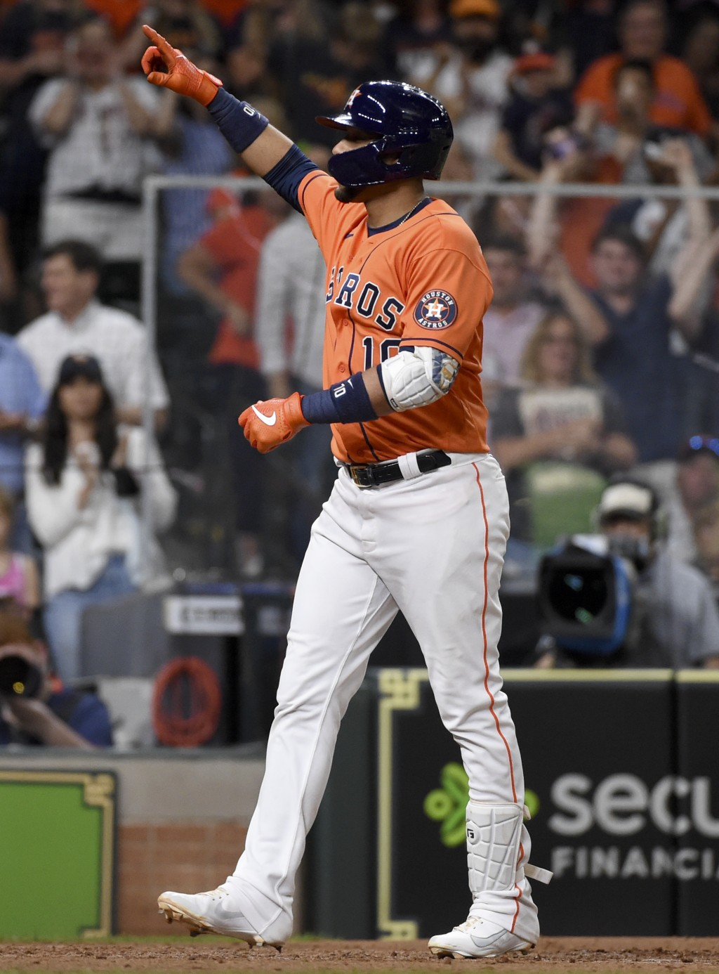 Houston Astros' Yuli Gurriel celebrates after his two-run home run during the fifth inning of baseball game against the Toronto Blue Jays, Friday, May...