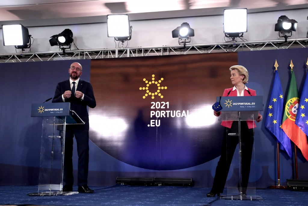 European Commission President Ursula von der Leyen, right, and European Council President Charles Michel address a media conference at an EU summit in...
