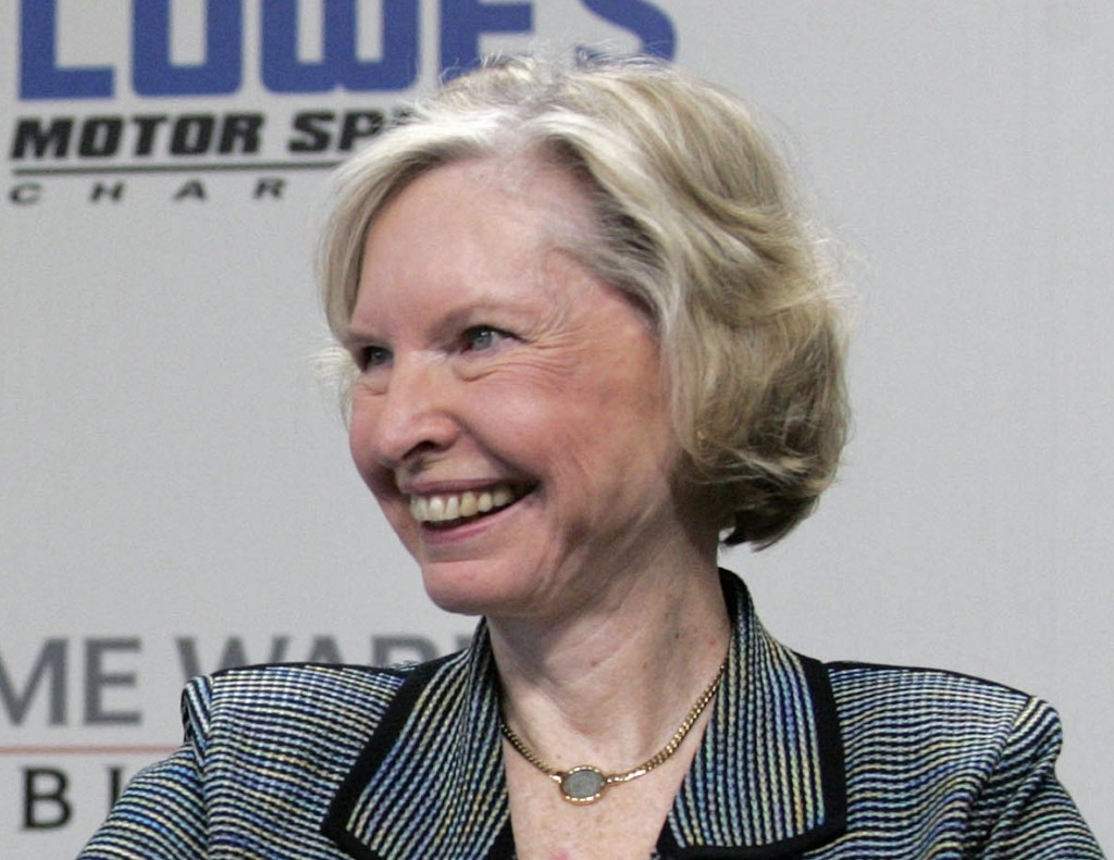 FILE - In this May 9, 2006, file photo, Janet Guthrie smiles during a press conference at Lowe's Motor Speedway in Concord, N.C. Janet Guthrie is stil...